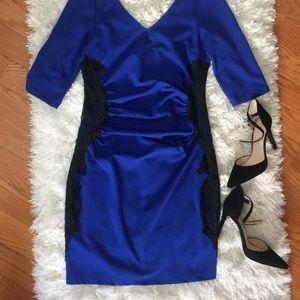 Asos Lipsy Royal Blue Dress w Lace Sides & Ruching